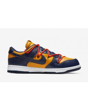 Off-White x Nike Dunk Low Or/Midnight Navy-Blanche CT0856-700