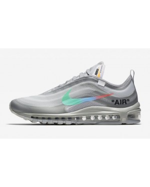 finest selection e9485 26e2e Off-White x Nike Air Max 97 Blanche Gris-Blanche-Menta AJ4585 ...