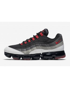 Nike Air VaporMax 95 Blanche/Rouge-Dark Pewter-Gris AJ7292-101