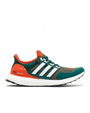 "Adidas Ultra Boost ""Miami Hurricanes"" Vert/Orange AQ7847"