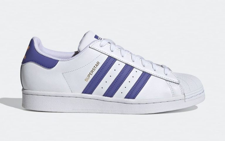 """Adidas Superstar """"Lakers"""" Blanche/Violet-Or FX5529"""