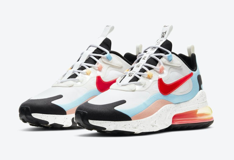 """Nike Air Max 270 React """"The Future is in the Air"""" Blanche/Infrared-Blanche DD8498-161"""